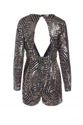 Sexy Plunging Neck Long Sleeve Sequined Backless Romper For Women