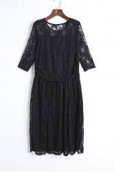 Elegant Jewel Neck Half Sleeve Solid Color Pleated Lace Dress For Women