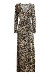 Plunging Neck Leopard Long Sleeve Slit Maxi Formal Dress