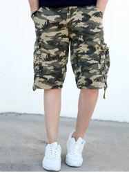 Loose Fit Straight Leg Multi-Pocket Camo Imprimer Zipper Fly Cargo Shorts For Men - Kaki