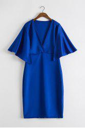 Chic Women's Pure Color Plunging Neck Cape Dress