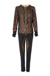 Stylish Hooded Long Sleeve Leopard Print Hoodie + Drawstring Pants Women's Twinset - BLACK