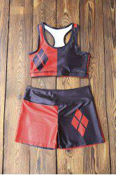 Running Color Block Racerback Top and Shorts - RED WITH BLACK M