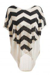 Relaxed Sawtooth Pattern Batwing Sleeve Plus Size Women's White Blouse -