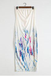 Strapless Colorful Feather Printed Bodycon Dress
