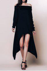 Long Sleeve Asymmetric Casual Dress - BLACK