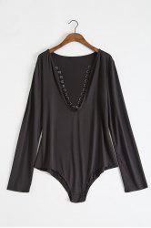 Stylish Plunging Neck Criss-Cross Long Sleeve Bodysuit For Women -