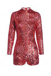 High Neck Long Sleeve Glitter Sequins Romper - RED