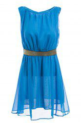 Cut Out Sleeveless Round Neck See-Through Ladylike Style Chiffon Women's Dress -