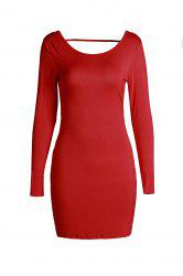 Sexy Red manches longues Robe moulante dos nu pour les femmes -