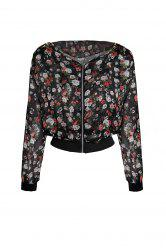 Stylish Scoop Neck Floral Print Zipper Shoulder Pad Chiffon Women's Coat - BLACK
