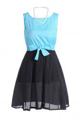 Stylish Scoop Neck Bow Tie Color Block Splicing Women's Chiffon Dresses -