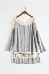 Fashionable Round Collar Long Sleeve Hollow Out Tassels Embellished Women's T-Shirt