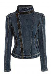 Stylish Stand Collar Zipper Long Sleeve Denim Women's Short Jacket - BLUE