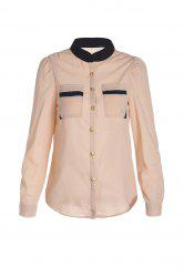 Women's OL Style Slim Splicing Color Chiffon Stand-Collar Shirt Blouse
