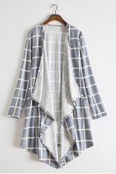 Stylish Collarless Long Sleeve Plaid Asymmetrical Women's Thin Cardigan -