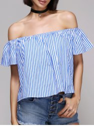 Chic Women's Off The Shoulder Pinstriped Blouse -