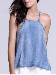 Washed Cami Tank Top - BLUE XL