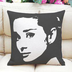 Chic Audrey Hepburn Pattern Square Shape Linen Pillowcase (Without Pillow Inner) - BLACK