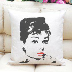 Chic Audrey Hepburn Pattern Square Shape Linen Pillowcase (Without Pillow Inner) - WHITE