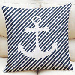 Stylish Oblique Striped Anchor Pattern Square Shape Flax Pillowcase (Without Pillow Inner)
