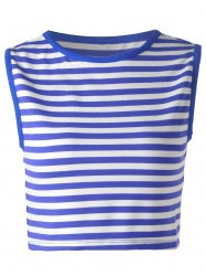 Striped Crop Tank  Top - BLUE AND WHITE XL