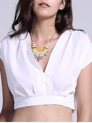 Chic Plunging Neck Zippered Plain Crop Top
