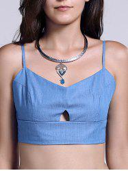 Chic Solid Color Cut Out Spliced Women's Crop Top