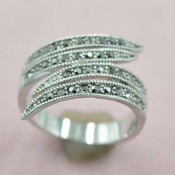 Rivet Decorated Leaf Opening Ring - SILVER