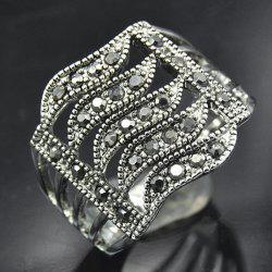 Rhinestone Hollowed Wave Ring