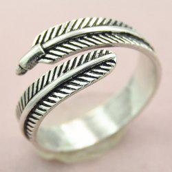 Embossed Feather Opening Ring - SILVER ONE-SIZE