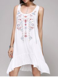 Chic Women's Embroidery Scoop Neck Tank Dress