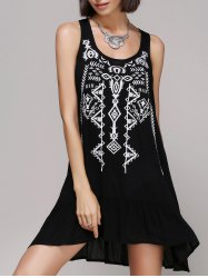 Chic Women's Embroidery Scoop Neck Tank Dress -