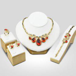 A Suit of Retro Style Faux Ruby Statement Necklace Bracelet Ring Earrings