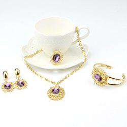A Suit of Vintage Style Oval Amethyst Necklace Bracelet Ring Earrings