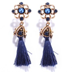 Pair of Vintage Rhinestone Embellished Tassel Earrings