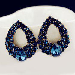 Water Drop Fake Crystal Hollowed Earrings -