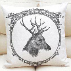 Pencil Sketch Deer Pattern Square Shape Linen Pillowcase (Without Pillow Inner) -