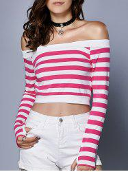Stylish Women's Long Sleeve Hit Color Crop Top - RED XL