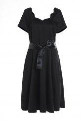 Vintage Style Scoop Neck Short Sleeve Black Women's Ball Gown Dress