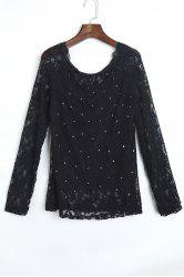 Stylish Slash Collar Long Sleeve Hollow Out Lace Women's Blouse