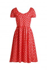 Retro Sweetheart Neck Cap Sleeve Polka Dot Women's Dress