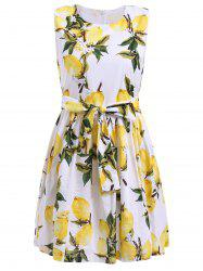 Trendy Women's Sleeveless Lemon Print Bowknot Embellished Mini Dress -