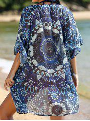 Stylish 3/4 Sleeve Position Print Women's Kimono Blouse