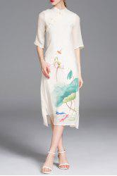Cheongsam Midi Dress With Chinese Painting -