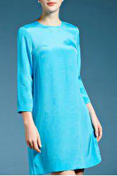 Three Quarter Sleeve Solid Color Silk Shift Dress -