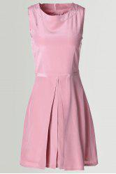 Solid Color Silk Fit and Flare Dress -