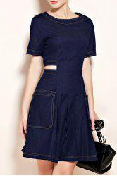 Big Pocket Cutout Waist Denim Dress -