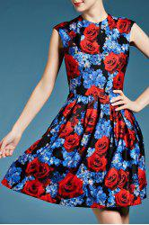Sleeveless Fit and Flare Floral Dress -