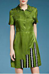 Short Sleeve Stripe Patched Silk Shirt Dress -